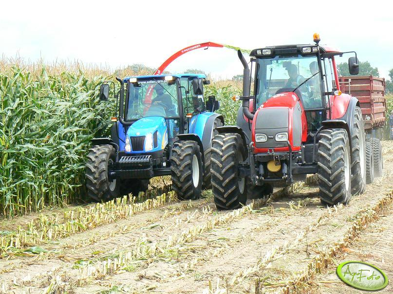 New Holland z sieczkarnią Pottinger + Valtra