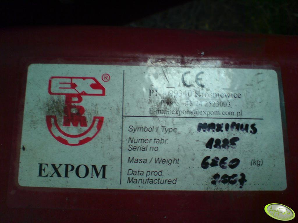 Wały Expom - tabliczka znamionowa