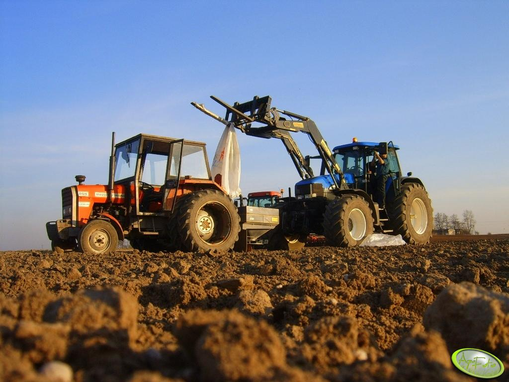 New Holland TM175 i Massey Ferguson 255 z Bogballe DZ 750