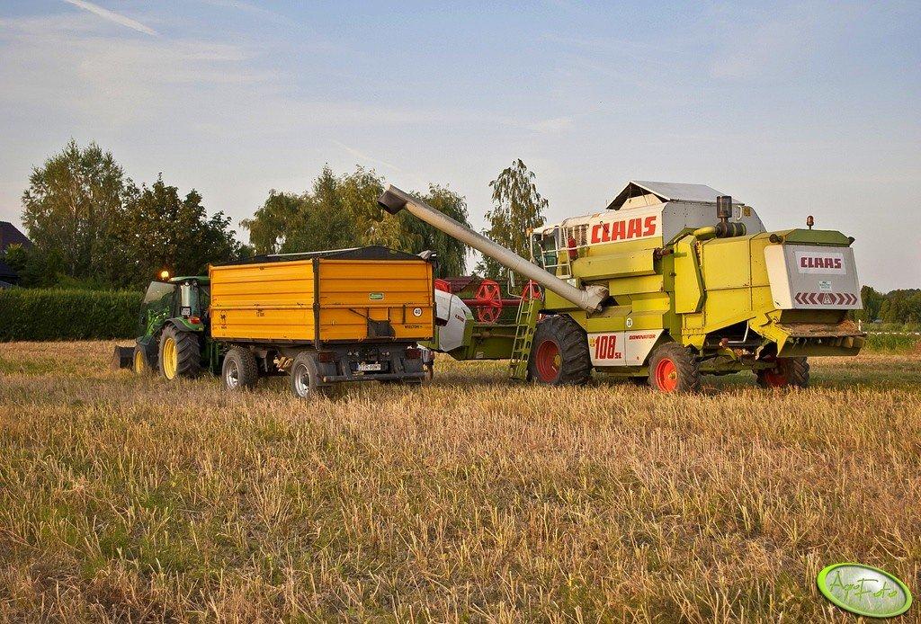 Claas Dominator 108SL + Wielton 12ton + John Deere 5820