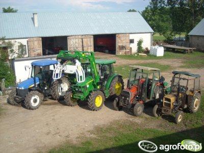 John Deere 5080R & New Holland TD95D & MF 255 & Ursus C-330