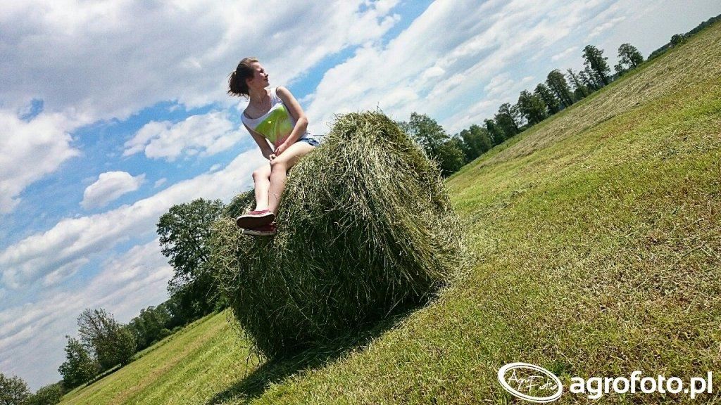 Agrofotowiczka podczas sianokosów.