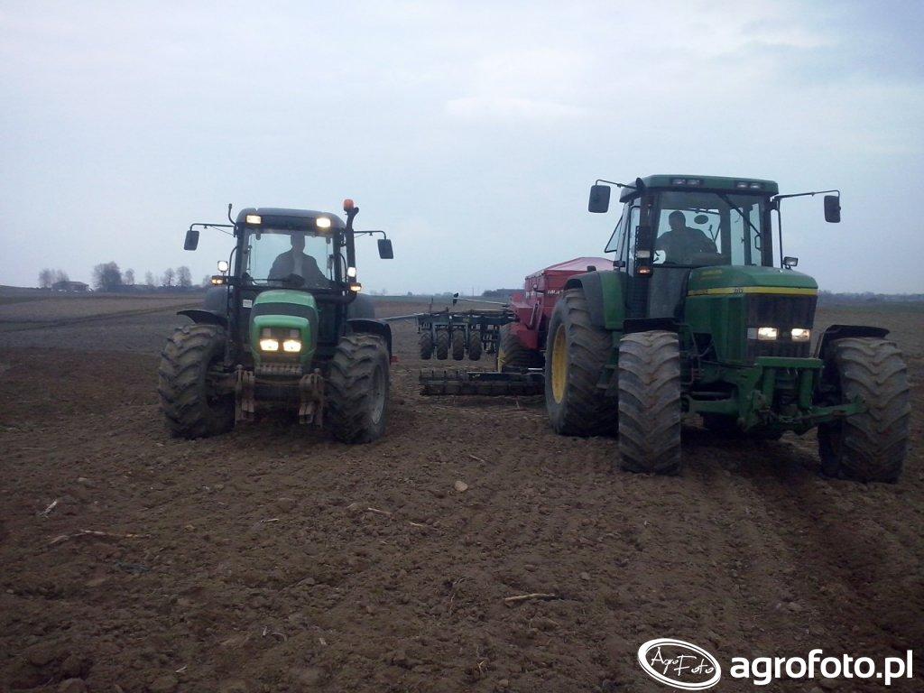 Deutz Fahr agrofarm 410 i John Deere 7710 z Kongskilde Demeter Multijet 3306
