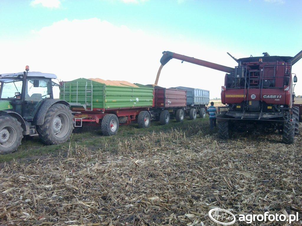 Deutz-Fahr Agrofarm 430 , Unia Brzeg P-10 + Wielton + Zasław &Case 5130
