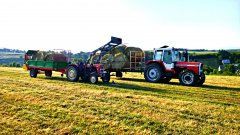 Ursus C-330 TUR i Rozrzutnik & Massey Ferguson 698 i platforma