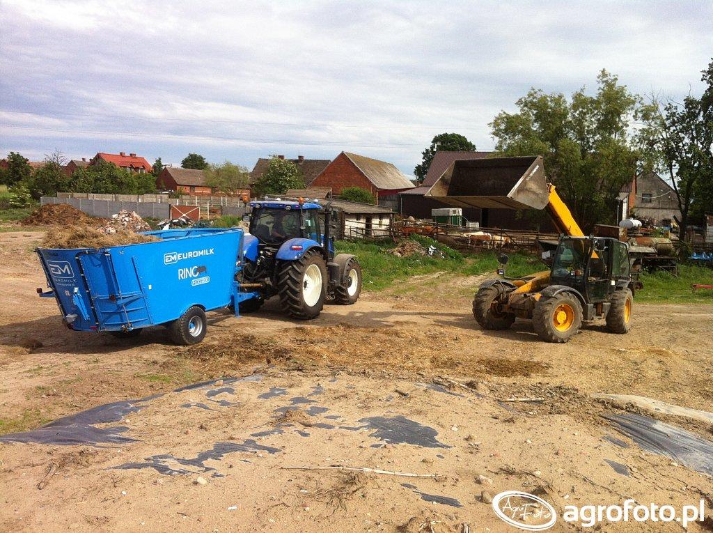 New Holland T7.210 & Euromilk Rino FXXS1200 & JCB 530-70