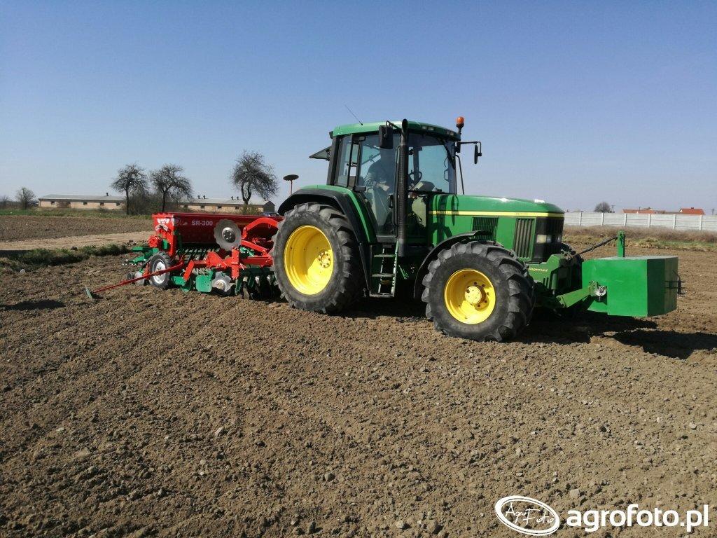 John Deere 6510 i zestaw uprawne siewny agromasz