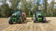 John Deere 6140R + Lely Welger RP 445 & John Deere 6100MC + Brona Talerzowa 3m
