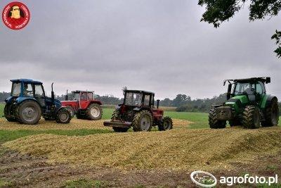 Ugniatanie kukurydzy - traktor Same, Steyr, Pronar oraz Deutz.