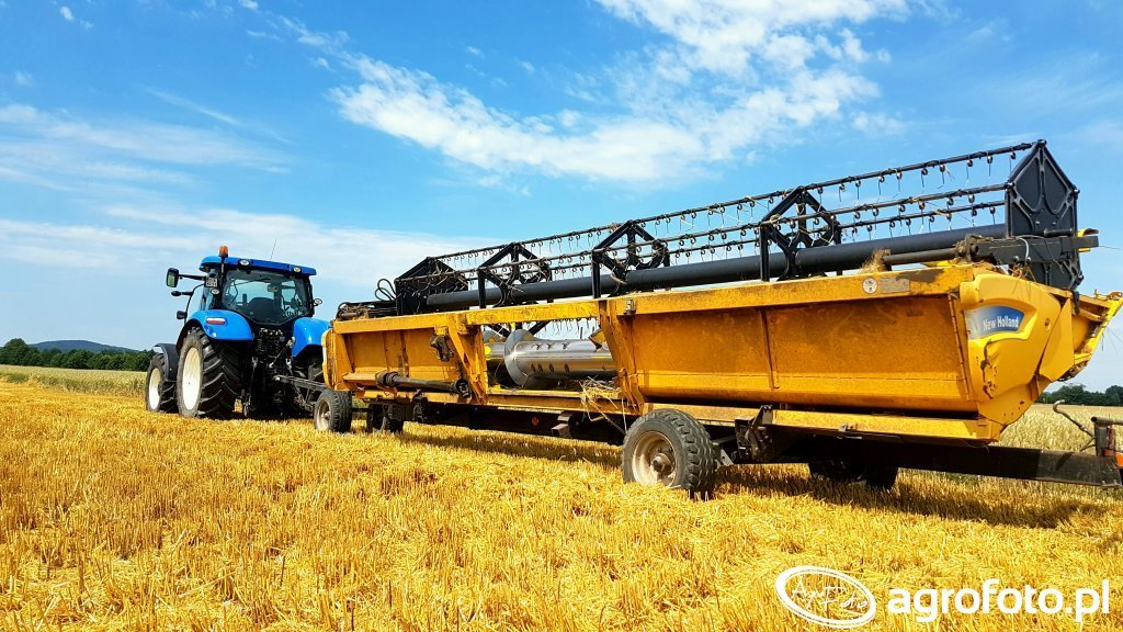 New Holland T6 & Heder 7,50m