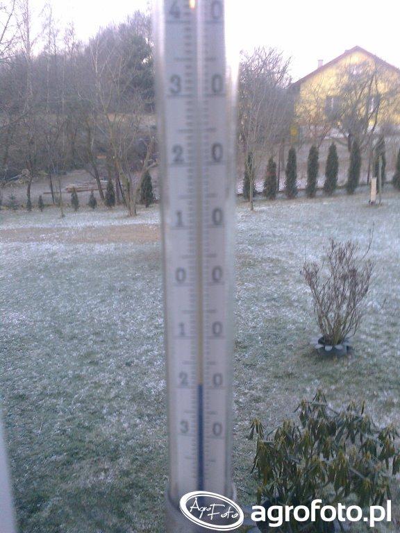Termometr, stary i niezawodny tylko minus 19 i bez śniegu