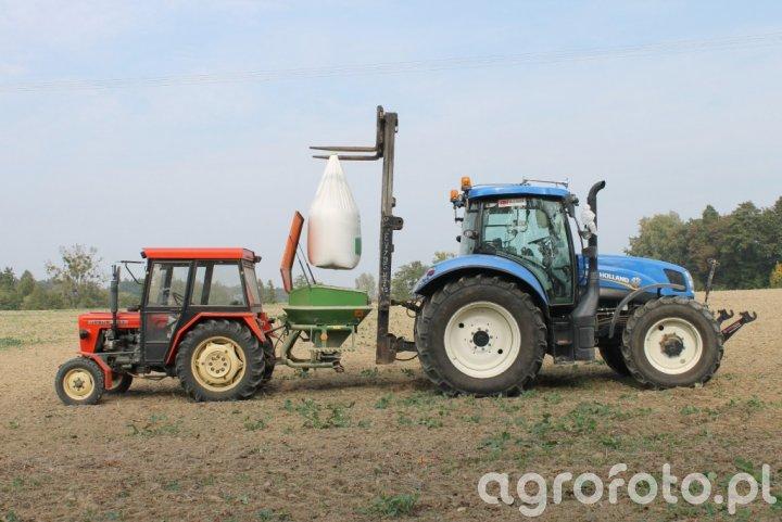 New Holland T6.155 + widlak i Ursus C-330 + Amazone ZA-F 603