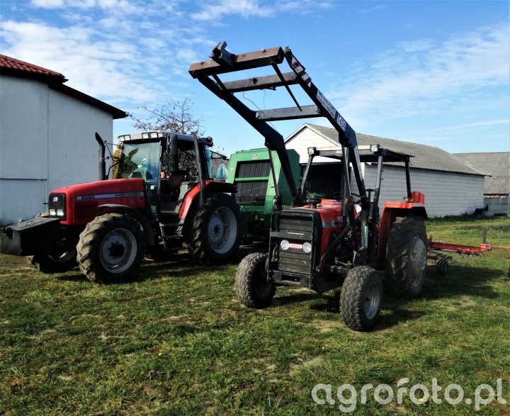 Massey Ferguson 6260 + John Deere 590 Ursus 3512 +Kuhn GA 301 GM