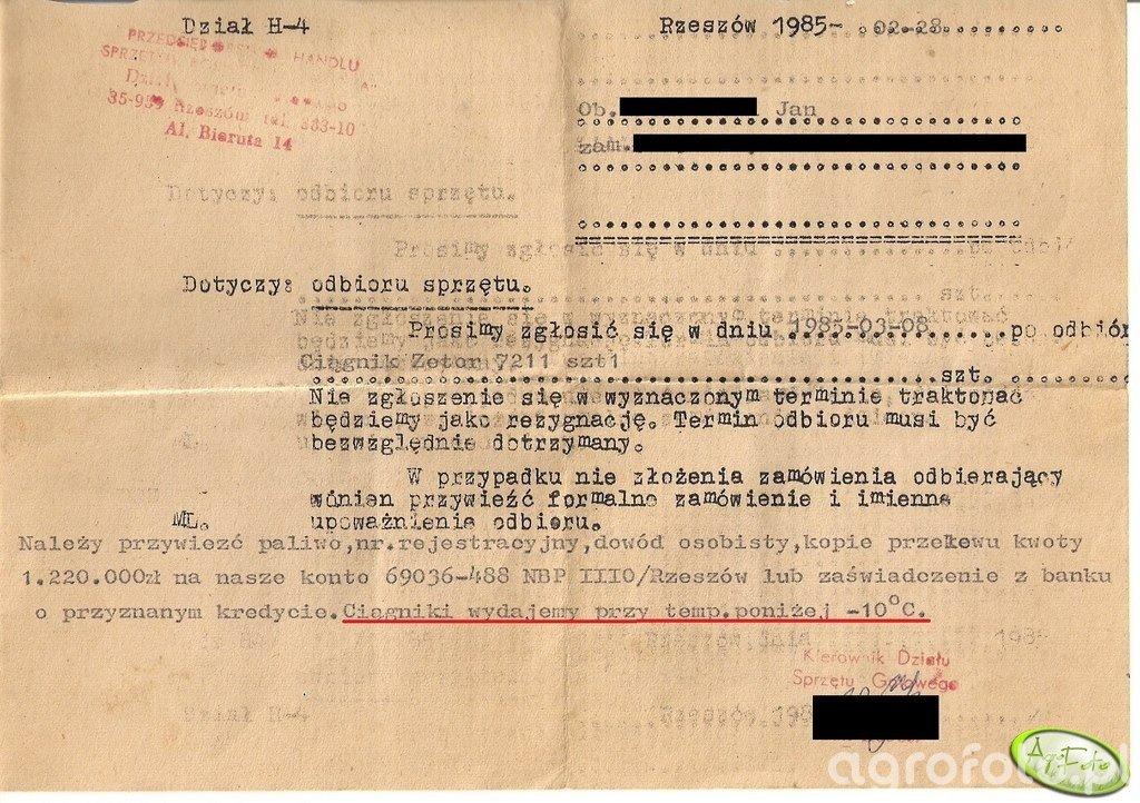Zawiadomienie o odbiorze ciągnika z 1985 r.