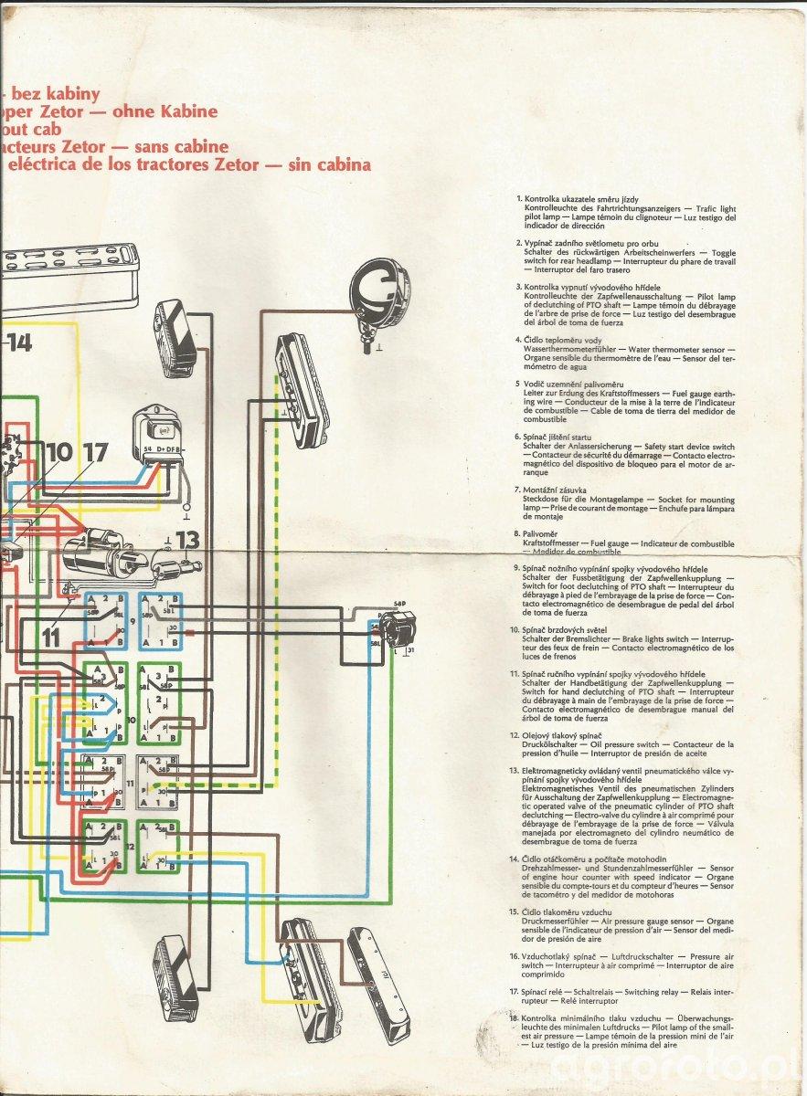 Schemat instalacji Zetor serii x2xx bez kabiny cz.2