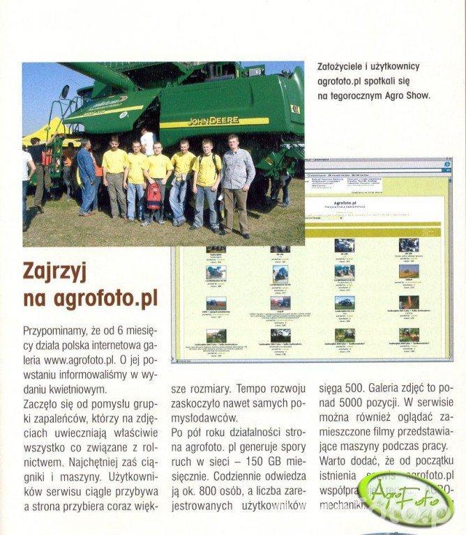 Artykuł o AgroFoto w gazecie Agromechanika nr 8/2006.