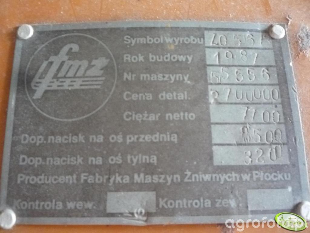 Bizon Z056 - tabliczka znamionowa
