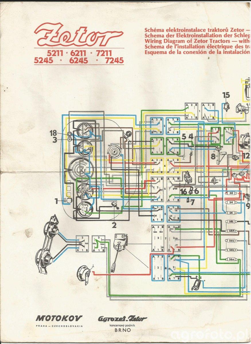 Schemat instalacji Zetor serii x2xx bez kabiny cz.1