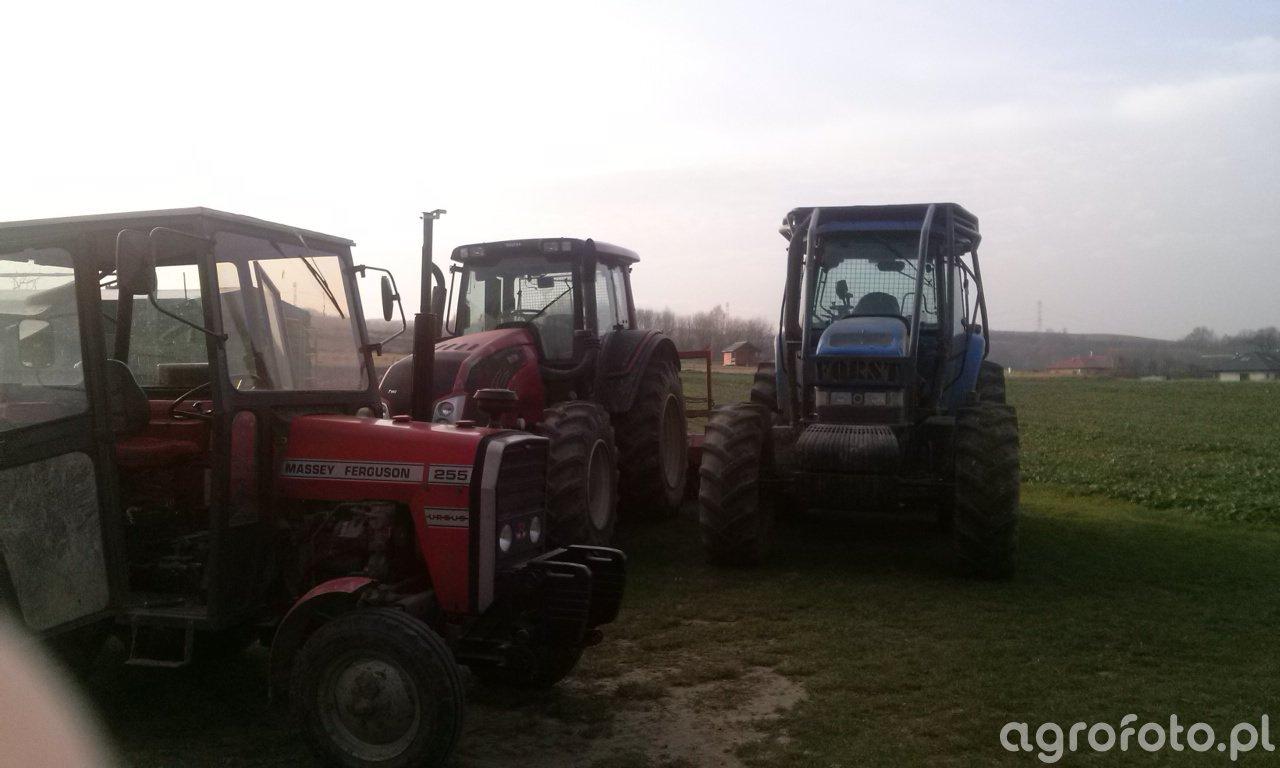 Massey ferguson 255 + Valtra t193 + New holland tm190
