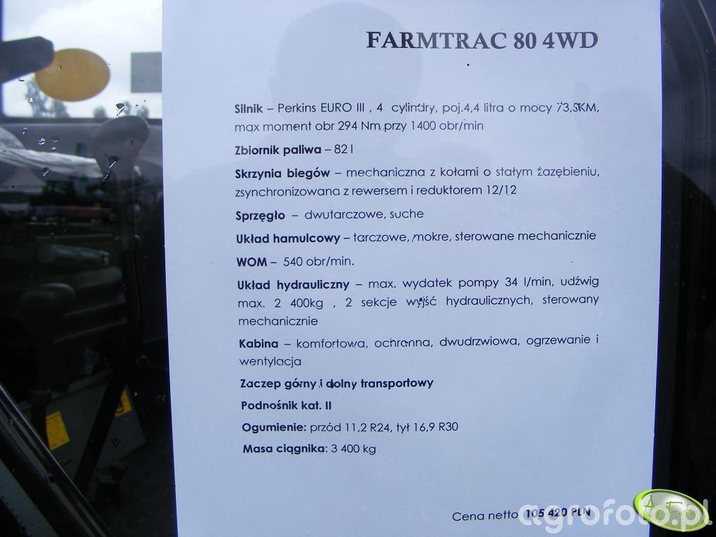 Farmtrac 80 4WD - dane