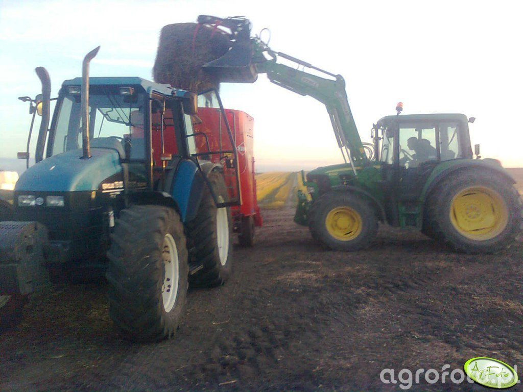 John Deere 6330 & New Holland TS 100 + Kuhn Euromix I