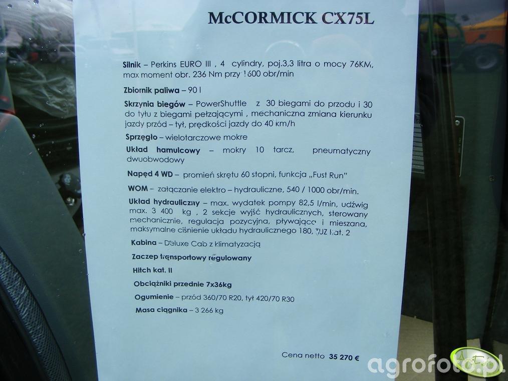McCormick CX75L - dane