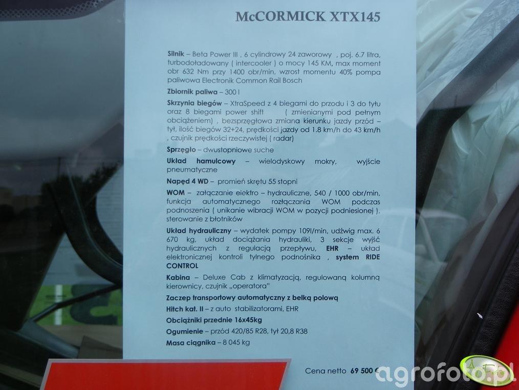 McCormick XTX145 - dane