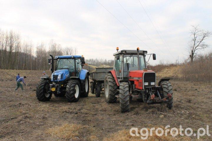 New Holland T6.155+rębak, Massey Ferguson 3080+przyczepa D47B