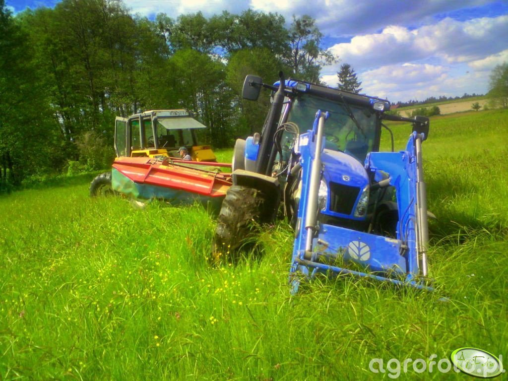 New Holland T6030 Delta + Stoll JF 250 & Renault