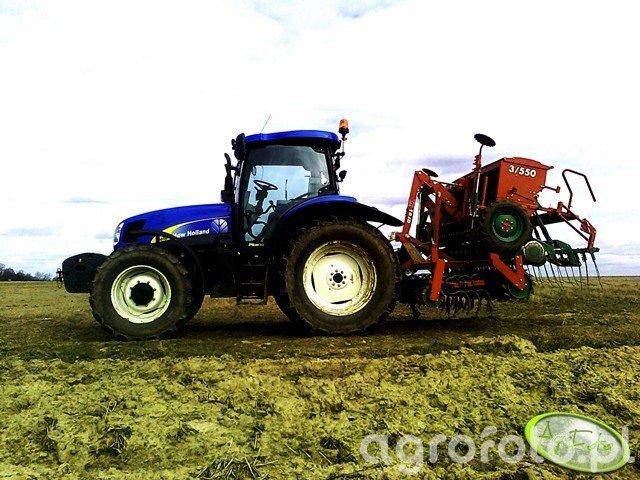 New Holland T6050 plus oraz UNIA ares XL  Polonez D 550/3