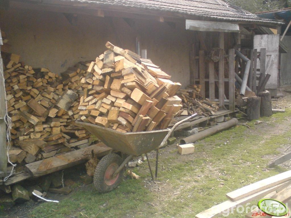 Taczki i składowisko na drewno