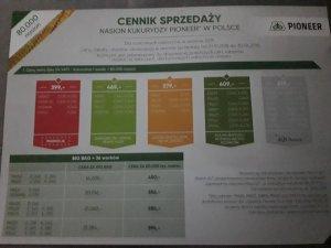 Cennik kukurydzy Pioneer 2018-2019