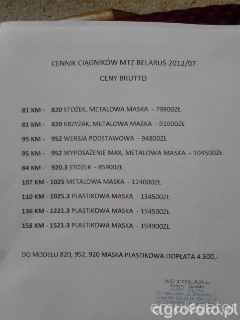 Cennik MTZ/Belarus 2012