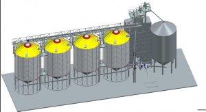 Wizualizacja: 4 x silosy 230 t + suszarnia 140t/24h + silos buforowy