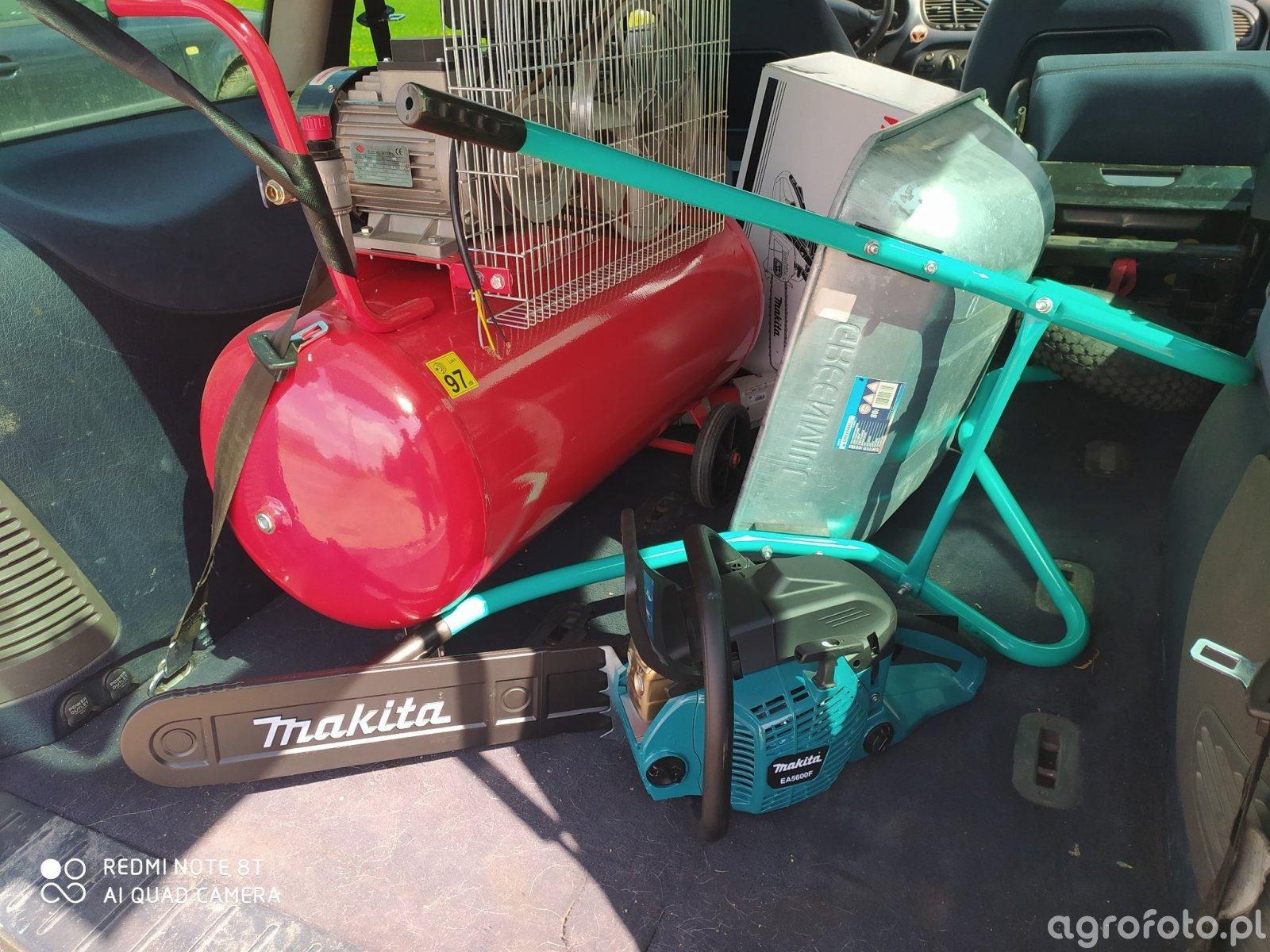 Makita 5600, kompresor i taczka ogrodowa.