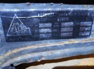 Tabliczka znamionowa  kabiny ursus c355 tzw.  puszka