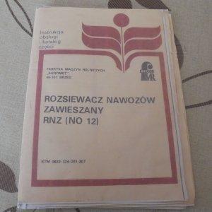 Rozsiewacz Nawozów Agromet F.M.R. Brzeg RNZ NO12 - Instrukcja Obsługi i Katalog Części.